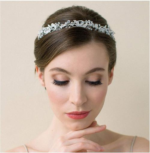 SWEETV Silver Wedding Headpieces for Bride Handmade