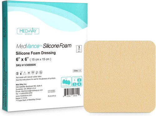 MedVance Silicone Foam Absorbent Soft Wound Dressings- 5 Pcs