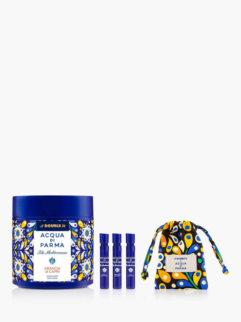 Acqua di Parma Blu Mediterraneo Body Scrub Bundle with Gift La Double J Arancia di Capri