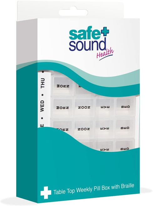 Safe and Sound Jumbo Weekly Pill Organiser Tray with Printed Days