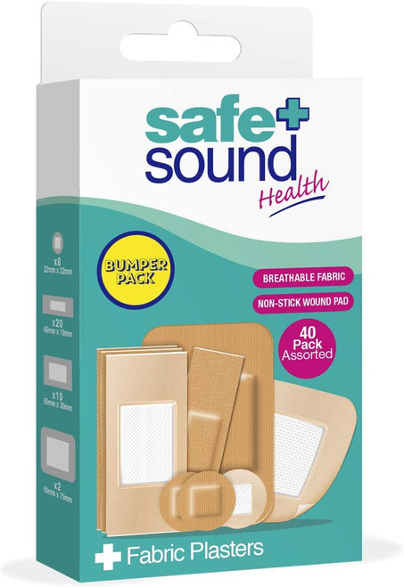Safe and Sound Assorted Fabric Plasters Bumper Pack - 40 Pack