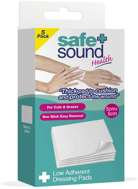Safe & Sound Sterile Low Adherent Dressing Pads - 5 Pack