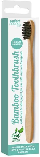 Safe plus Sound Natural Bamboo Black Bristles Toothbrush