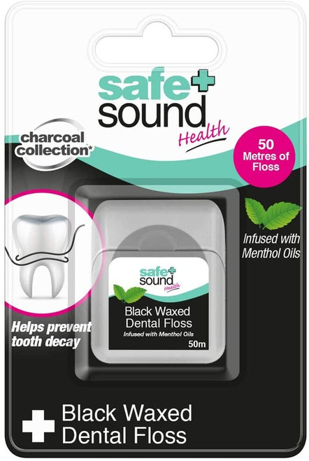 Safe plus Sound Black Waxed Mint Infused Dental Floss - 50m