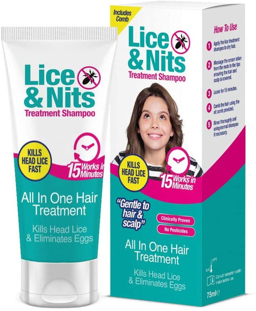 Safe and Sound Lice and Nits Treatment Shampoo with Comb - 75ml