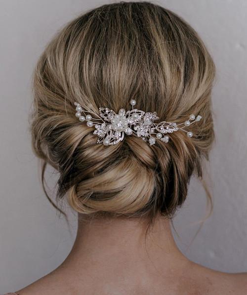 SWEETV Bridal Hair Comb Clip Pin Rhinestone-01 Silver