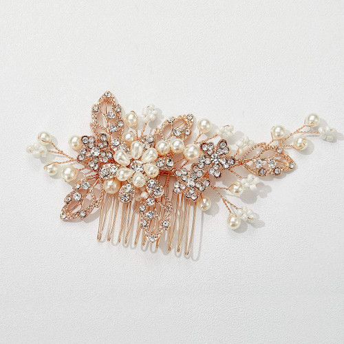 SWEETV Bridal Hair Comb Clip Pin Rhinestone-02 Rose gold