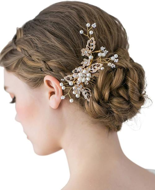 SWEETV Bridal Hair Comb Clip Pin Rhinestone-03 Gold