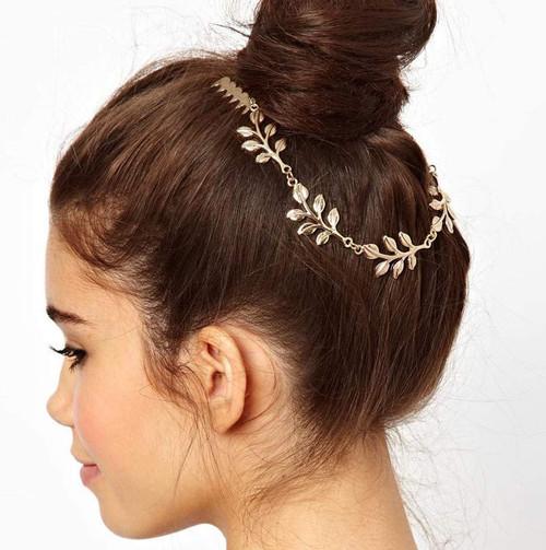 TseenYi Boho Head Chain Alloy Leaf Chain Hair Combs