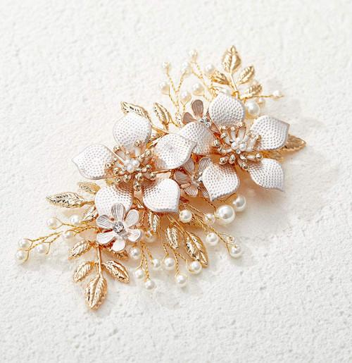 SWEETV Gold Wedding Hair Comb Clip Handmade