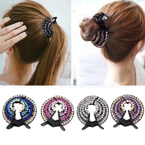 Ponytail Hair Clip Women Crystal Hairpin-4Pcs