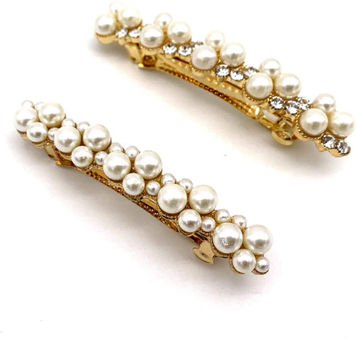CAREOR Pearls Artificial Pearl Alloy Hairpin-2 Pack