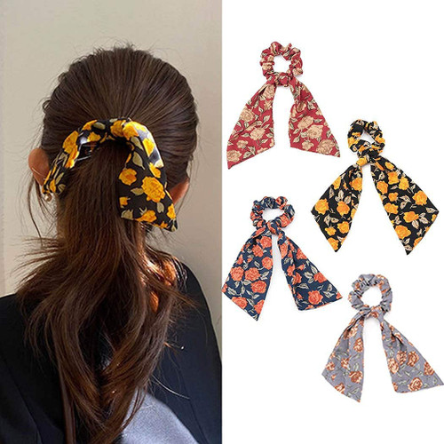 Generse Flower Hair Scrunchies Elastics Ponytail Holders-4 Pack