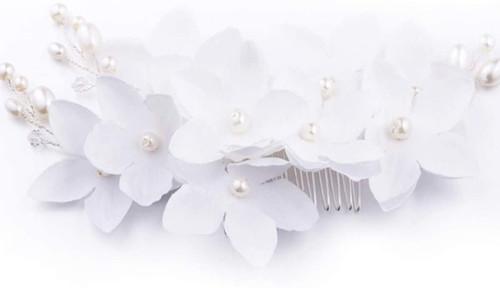 Flower Pearl and Rhinestones Wedding Hair Comb