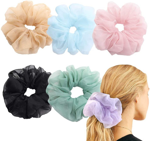 Hair Scrunchies Organza Oversized Elastic Hair Band-6Pcs