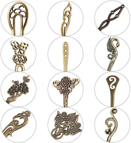 AUHOTA Vintage Bronze Decorative Hair Pin-12 Pieces