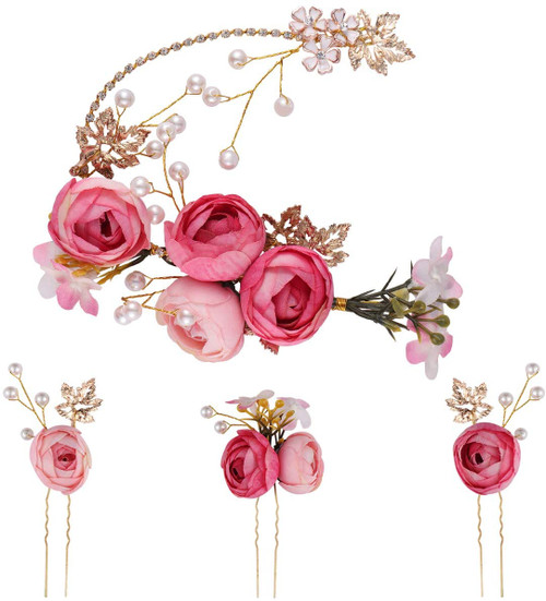 Lurrose U-shaped rose flower French side combs-5Pcs