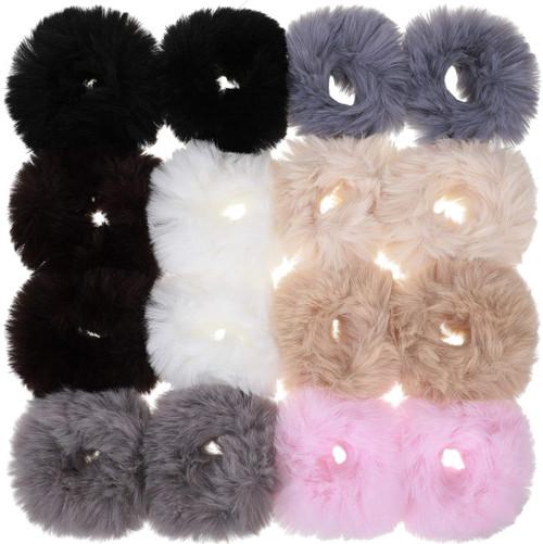 Fur Hair Scrunchies Rabbit Furry Hair Ties Color Set 1-16Pcs