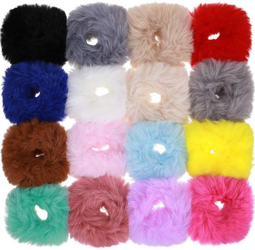 Fur Hair Scrunchies Rabbit Furry Hair Ties Color Set 2-16Pcs