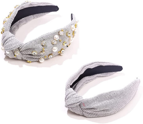 Knotted Pearls Embellished Crystal Knot Hairband-2 Pack