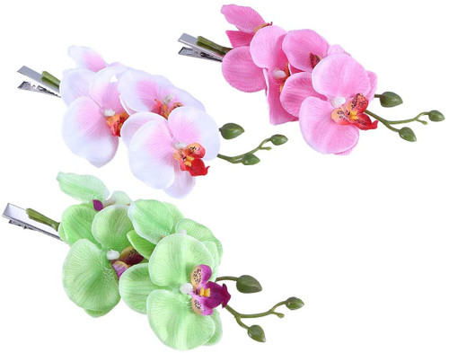 Lurrose Butterfly Orchid Hair Clips Floral Hairpin-3PCS
