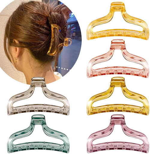 Whaline Hair Claw Clips Transparent Hair Catch Clip-6 Pack