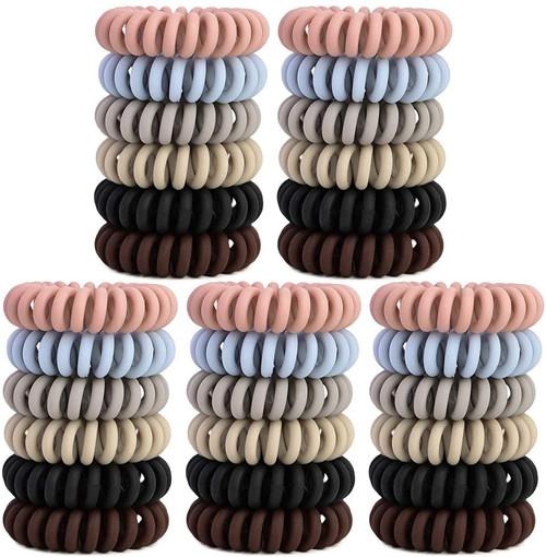 YMHPRIDE Spiral Plastic Elastic Hair Ties-30Pcs