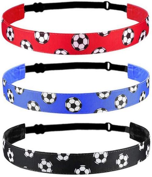 Adjustable Elastic Non-slip Soccer Headband-3Pcs