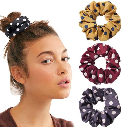 Genglass Vintage Hair Scrunchies Red Hair Ties-4 Pack