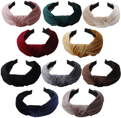 Wide Knotted Turban Velvet Hair Band set1-10 Pieces