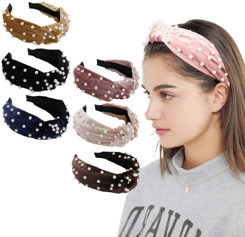 Velvet Wide Knot Turban Vintage Hairband with Faux Pearl set2-6 Pack