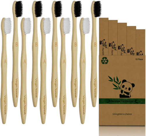 Virgin forest Soft Bristles Black and White Bamboo Toothbrush - 10 Pcs