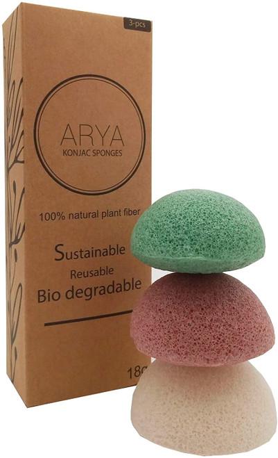 Arya Large Size Deep Cleansing Skin Konjac Sponges - Pack of 3