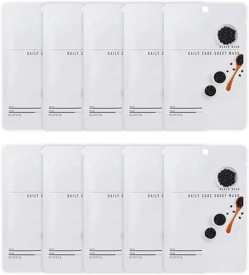 EUNYUL Korean Daily Skin Care Black Beans Facial Sheet Mask -10 Pcs