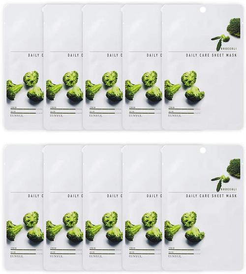 EUNYUL Korean Daily Skin Care Broccoli Facial Sheet Mask -10 Pcs
