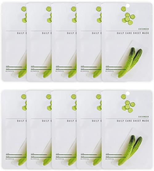 EUNYUL Korean Daily Skin Care Cucumber Facial Sheet Mask -10 Pcs