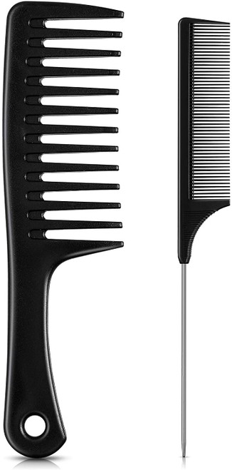Wide Tooth Comb with Steel Pintail Comb