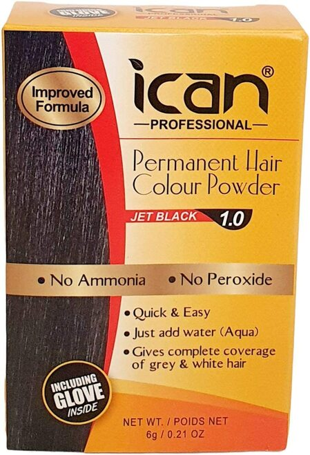 ICAN PERMANENT HAIR COLOR POWDER-Jet Black