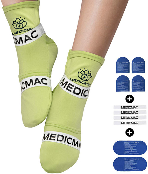 MEDICMAC Hot and Cold Therapy Adjustable Straps Socks with Gel Pack
