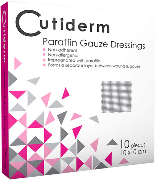 Cutiderm Skin Loss Wounds Sterile Paraffin Gauze Dressing - Pack of 10