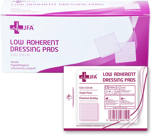 JFA Low Adherent Sterile Exuding Wound Dressing Pad - Pack of 100