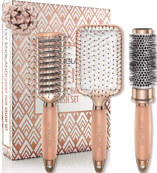 Lily England Rose Gold Non Slip Handle Gentle Styling Hair Brush Set