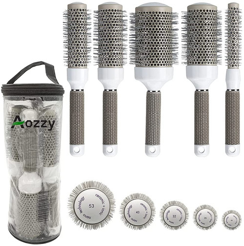 Aozzy Ceramic Ionic Curls and Blow Dry Hair Styling Round Hair Brush Set