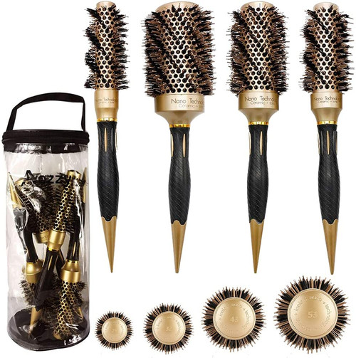 Aozzy Natural Boar Bristle Round Hair Brush for Blow Dry Styling Set