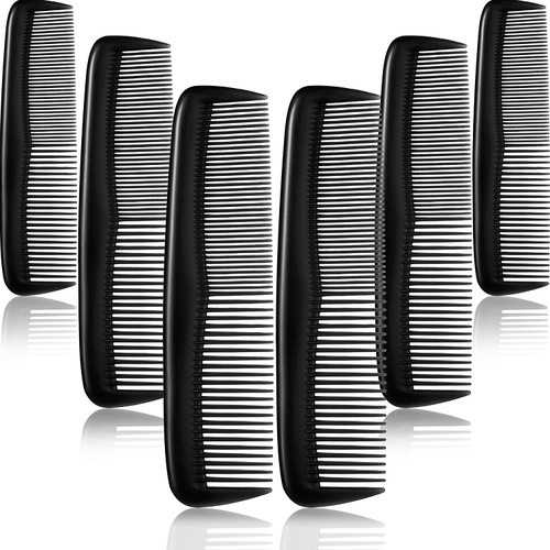 Pocket Size Black Hair Combs Set with Durable Teeth - 12 Pieces