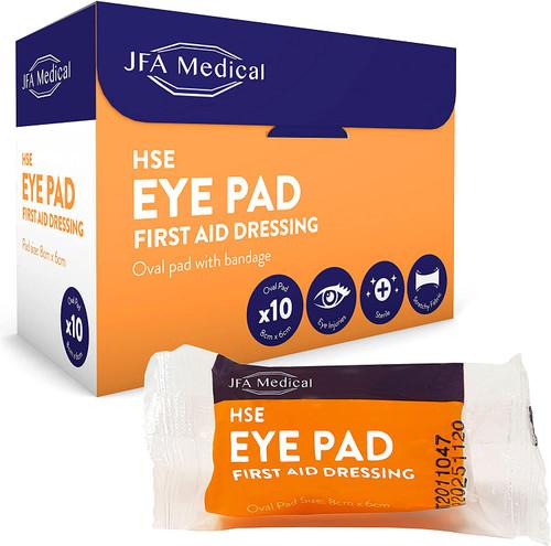 JFA Medical Eye Oval Pad First Aid Bandage - Pack of 10