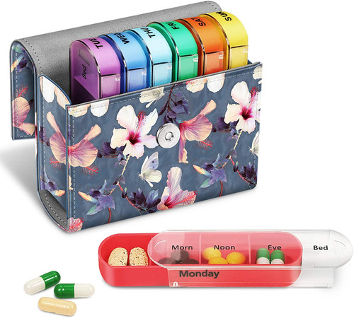 FINPAC 4 Times A Day Pill Organiser Box  with  Z-blooming Hibiscus Case