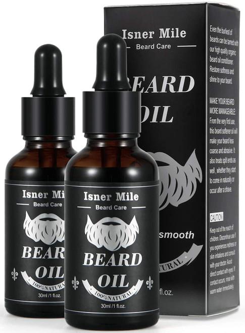 Isner Mile Silky Softening Beard Oil for Men with Light Scent Castor Oil - 2 Pack