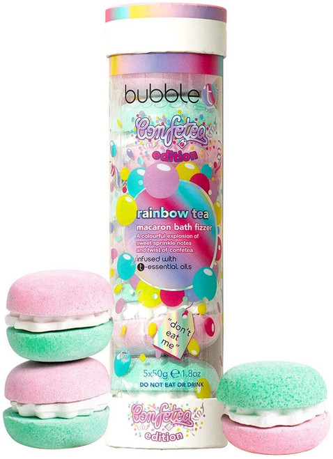 Bubble T Cosmetics Rainbow Tea Macaron Bath Bomb Stack-5 x 50g