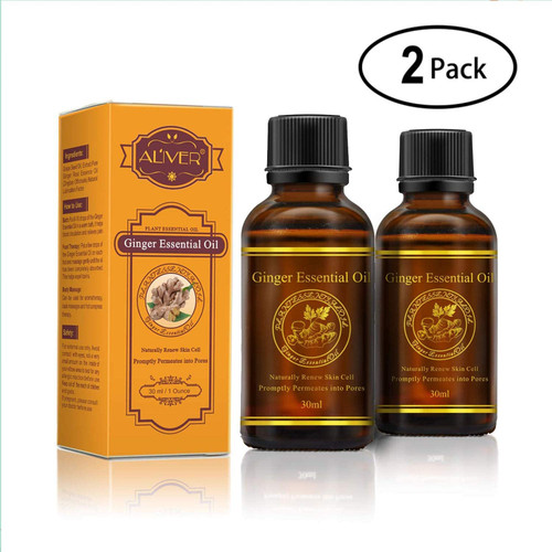 Aliver Plant Renewing Skin Ginger Essential Oils for Body Massage - 2 Pack